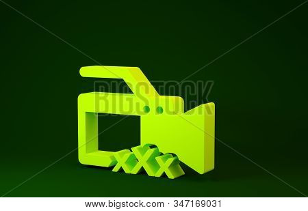 Yellow Video camera with inscription XXX icon isolated on green background. Age restriction symbol. 18 plus content sign. Adult channel. Minimalism concept. 3d illustration 3D render stock photo