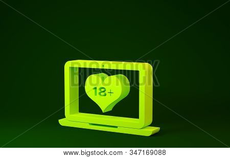 Yellow Laptop computer with 18 plus content heart icon isolated on green background. Age restriction symbol. 18 plus content sign. Adult channel. Minimalism concept. 3d illustration 3D render stock photo