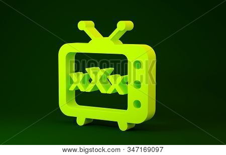 Yellow XXX tv old television icon isolated on green background. Age restriction symbol. 18 plus content sign. Adult channel. Minimalism concept. 3d illustration 3D render stock photo