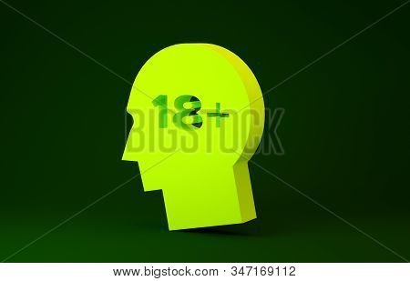 Yellow Human head with inscription 18 plus icon isolated on green background. 18 plus content sign. Adults content only icon. Minimalism concept. 3d illustration 3D render stock photo