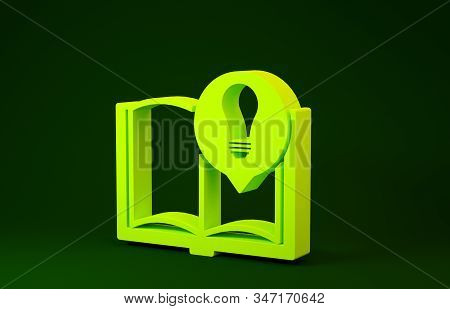 Yellow Interesting facts icon isolated on green background. Book or article and light bulb. Minimalism concept. 3d illustration 3D render stock photo