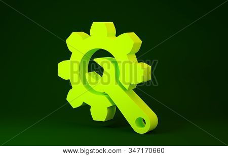 Yellow Wrench and gear icon isolated on green background. Adjusting, service, setting, maintenance, repair, fixing. Minimalism concept. 3d illustration 3D render stock photo