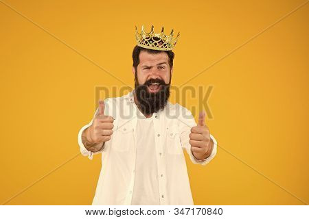 Superstar concept. Bearded man king costume party. Sense of self importance. Handsome bearded guy king. Superiority complex. Love yourself. King of party. Costume party. Holiday carnival celebration. stock photo