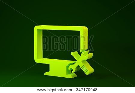 Yellow Computer monitor with screwdriver and wrench icon isolated on green background. Adjusting, service, setting, maintenance, repair, fixing. Minimalism concept. 3d illustration 3D render stock photo
