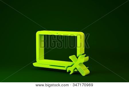 Yellow Laptop with screwdriver and wrench icon isolated on green background. Adjusting, service, setting, maintenance, repair, fixing. Minimalism concept. 3d illustration 3D render stock photo