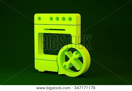 Yellow Oven with screwdriver and wrench icon isolated on green background. Adjusting, service, setting, maintenance, repair, fixing. Minimalism concept. 3d illustration 3D render stock photo