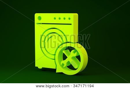 Yellow Washer with screwdriver and wrench icon isolated on green background. Adjusting, service, setting, maintenance, repair, fixing. Minimalism concept. 3d illustration 3D render stock photo