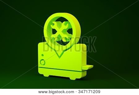 Yellow Toaster with screwdriver and wrench icon isolated on green background. Adjusting, service, setting, maintenance, repair, fixing. Minimalism concept. 3d illustration 3D render stock photo
