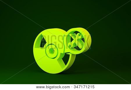 Yellow CD or DVD disk with screwdriver and wrench icon isolated on green background. Adjusting, service, setting, maintenance, repair, fixing. Minimalism concept. 3d illustration 3D render stock photo