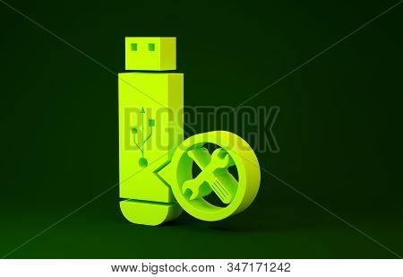 Yellow USB flash drive with screwdriver and wrench icon isolated on green background. Adjusting, service, setting, maintenance, repair, fixing. Minimalism concept. 3d illustration 3D render stock photo