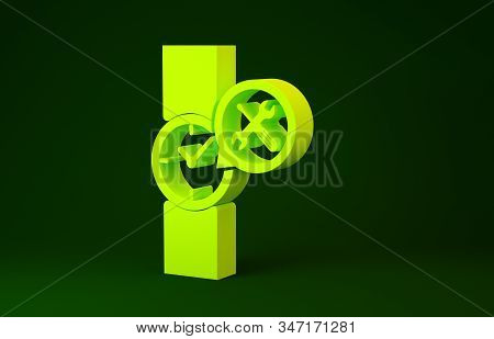 Yellow Wrist watch with screwdriver and wrench icon isolated on green background. Adjusting, service, setting, maintenance, repair, fixing. Minimalism concept. 3d illustration 3D render stock photo