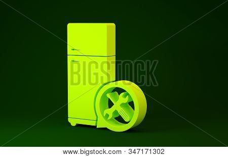Yellow Refrigerator with screwdriver and wrench icon isolated on green background. Adjusting, service, setting, maintenance, repair, fixing. Minimalism concept. 3d illustration 3D render stock photo