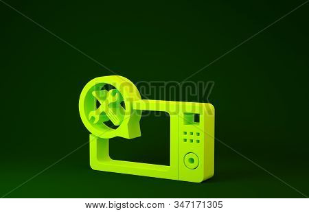 Yellow Microwave oven with screwdriver and wrench icon isolated on green background. Adjusting, service, setting, maintenance, repair, fixing. Minimalism concept. 3d illustration 3D render stock photo