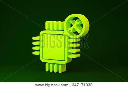 Yellow Processor with screwdriver and wrench icon isolated on green background. Adjusting, service, setting, maintenance, repair, fixing. Minimalism concept. 3d illustration 3D render stock photo
