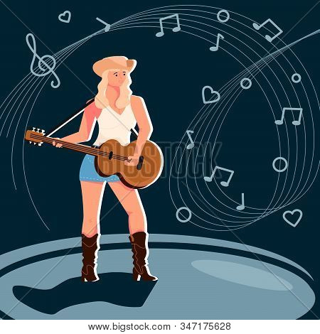 Country music female artist. Woman singer singing into a microphone. Modern poster performance. Flat Art Vector illustration stock photo