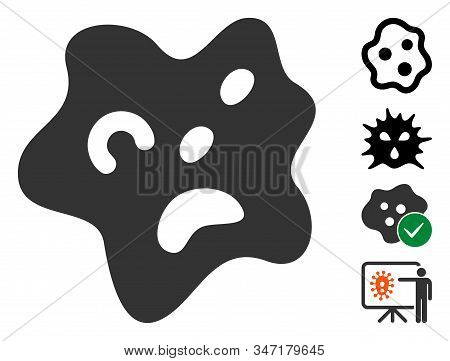 Amoeba icon. Illustration contains vector flat amoeba pictogram isolated on a white background, and bonus icons. stock photo