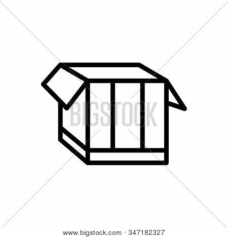 Black line icon for box pack  packing parcel shipping store open stock photo