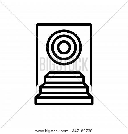 Black line icon for achievement success achieve competition award stock photo