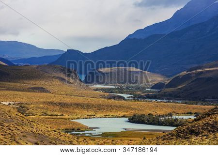 Beautiful mountain landscapes in Patagonia. Mountains lake in Argentina, South America. stock photo