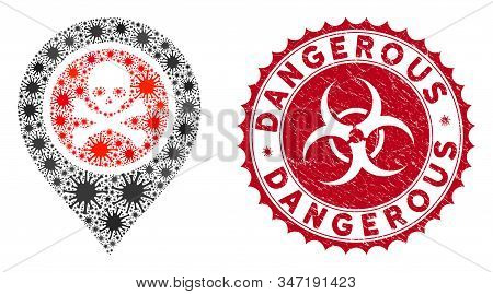 Coronavirus mosaic dangerous zone pointer icon and rounded corroded stamp watermark with Dangerous phrase. Mosaic vector is created with dangerous zone pointer icon and with random microbe objects. stock photo