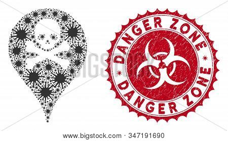 Coronavirus mosaic danger zone map marker icon and round grunge stamp seal with Danger Zone caption. Mosaic vector is composed with danger zone map marker icon and with random contagion objects. stock photo