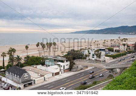 Aerial view of Santa Monica bay, beach and Pacific Coast Highway, California stock photo