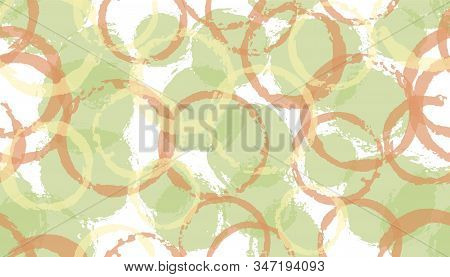 Colorful hand drawn circles geometry fabric print. Circular blob overlapping elements vector seamless pattern. Paint texture circles geometry fabric seamless. stock photo