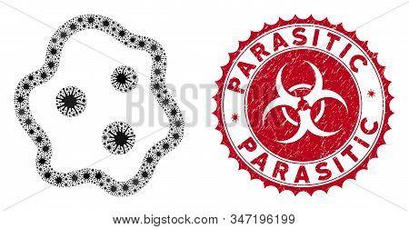 Coronavirus mosaic amoeba icon and round grunge stamp seal with Parasitic caption. Mosaic vector is composed with amoeba icon and with random flu symbols. Parasitic stamp uses biohazard style, stock photo