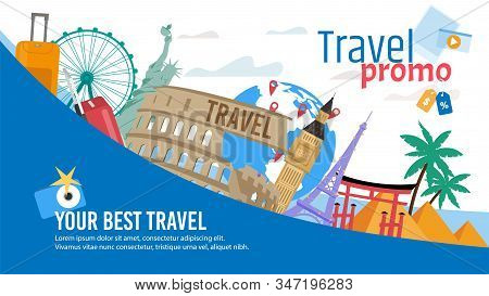 Travel Agency, Touristic Routes and Tours, Booking Service Trendy Flat Vector Advertising Banner, Promo Poster Template. European and American Cities Architectural, Historical Attractions Illustration stock photo