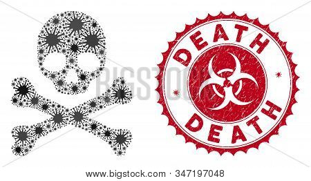 Coronavirus mosaic death icon and round distressed stamp seal with Death phrase. Mosaic vector is designed with death icon and with random mers objects. Death stamp seal uses biohazard style, stock photo