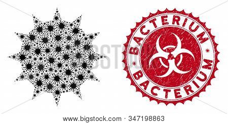 Coronavirus mosaic bacterium icon and round distressed stamp watermark with Bacterium text. Mosaic vector is composed with bacterium icon and with random microorganism icons. stock photo