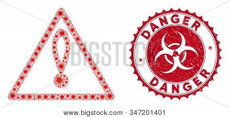 Coronavirus collage danger icon and rounded rubber stamp seal with Danger caption. Mosaic vector is composed with danger icon and with scattered mers-cov items. Danger stamp seal uses biohazard style, stock photo