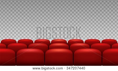 Rows seats. Red theater movie opera seats isolated on transparent background. Vector chairs backdrop to premiere event in theater, auditorium cinema interior illustration stock photo