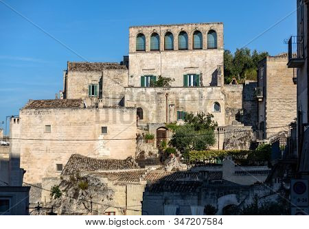 View of the Sassi di Matera a historic district in the city of Matera, well-known for their ancient cave dwellings. Basilicata. Italy stock photo