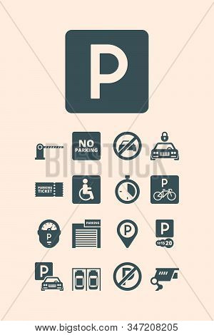 Parking symbols. Paid money garage auto park cars bikes buses automatic parking systems vector set. Park location, placeholder and money paid automatic illustration stock photo