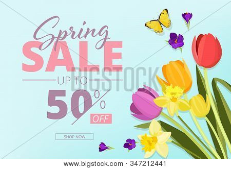 Spring sale. Advertizing background banner with abstract geometrical shapes and flowers vector store coupon. Spring poster discount, promotion advertising illustration stock photo