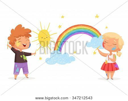 Kids draw rainbow. Happy little artists painting sun clouds vector funny childrens. Artist adorable with paintbrush, creativity rainbow and sun illustration stock photo