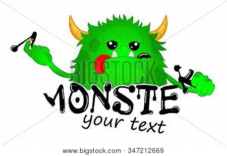 Beast took a bite of a Letter. Cute Kids Monster Vector Logo Template. Hungry cartoon hairy monster. Vector Halloween green furry monster gremlin or troll. Design for emblem, logo, print or sticker. stock photo