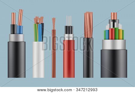 Optical cables. Wire fiber cord structure electrical line wicker vector realistic template. Illustration fiber cord, complex power optical wire stock photo