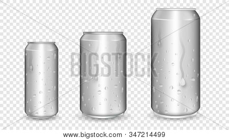 Realistic aluminum cans. Metallic cans. Aluminum bear soda and lemonade cans with water drops, energy drink blank mockup. stock photo