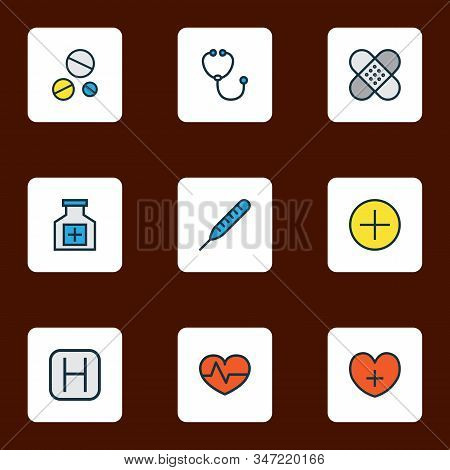 Antibiotic icons colored line set with hospital, patch, heart and other heart pulse elements. Isolated vector illustration antibiotic icons. stock photo