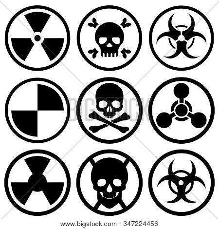 A set of nine different icons. Bio-attack, nuclear danger, bio-danger, and more. Vector illustration. stock photo