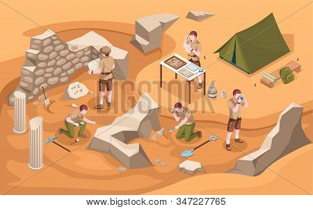 Archeology isometric excavation or archeologist at work. Archaeology job or archaeologist near ancient civilization architecture, columns and tent.Cartoon explorer at historic excavate.Old artifacts stock photo