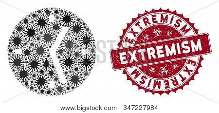 Coronavirus mosaic clock icon and round rubber stamp watermark with Extremism text. Mosaic vector is formed with clock icon and with scattered viral items. Extremism stamp uses biohazard style, stock photo