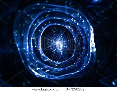 Blue glowing futuristic artificial cell, computer generated abstract background, 3D rendering stock photo