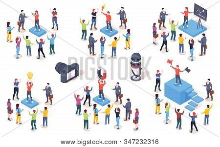 Opinion leader, audience influencer, vector isometric icons. Brand marketing campaign and SMM social media influence creative concept. Opinion leader leading people customers with magnet and idea lamp stock photo