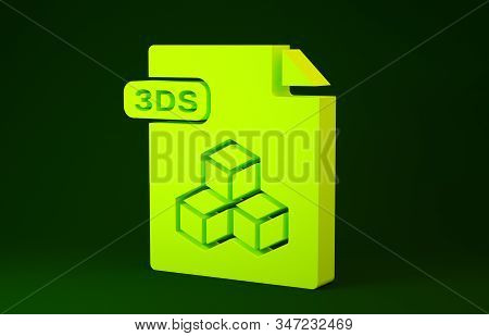 Yellow 3DS file document. Download 3ds button icon isolated on green background. 3DS file symbol. Minimalism concept. 3d illustration 3D render stock photo