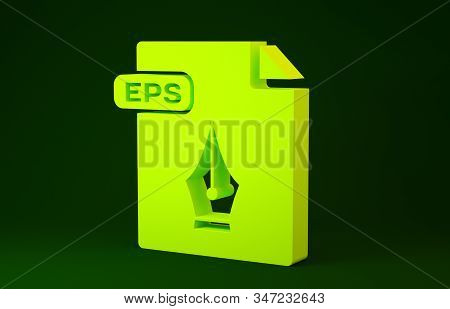Yellow EPS file document. Download eps button icon isolated on green background. EPS file symbol. Minimalism concept. 3d illustration 3D render stock photo