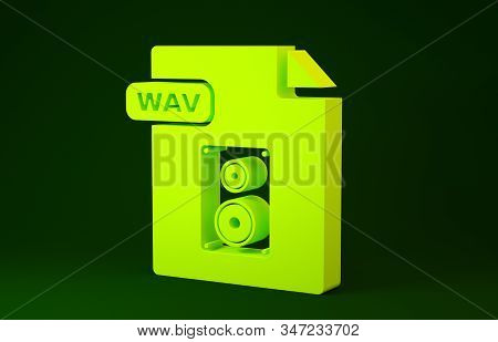 Yellow WAV file document. Download wav button icon isolated on green background. WAV waveform audio file format for digital audio riff files. Minimalism concept. 3d illustration 3D render stock photo