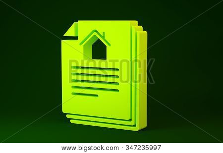 Yellow House contract icon isolated on green background. Contract creation service, document formation, application form composition. Minimalism concept. 3d illustration 3D render stock photo